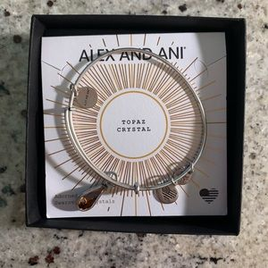 NWOT Alex and Ani Topaz Birthstone Silver Bracelet